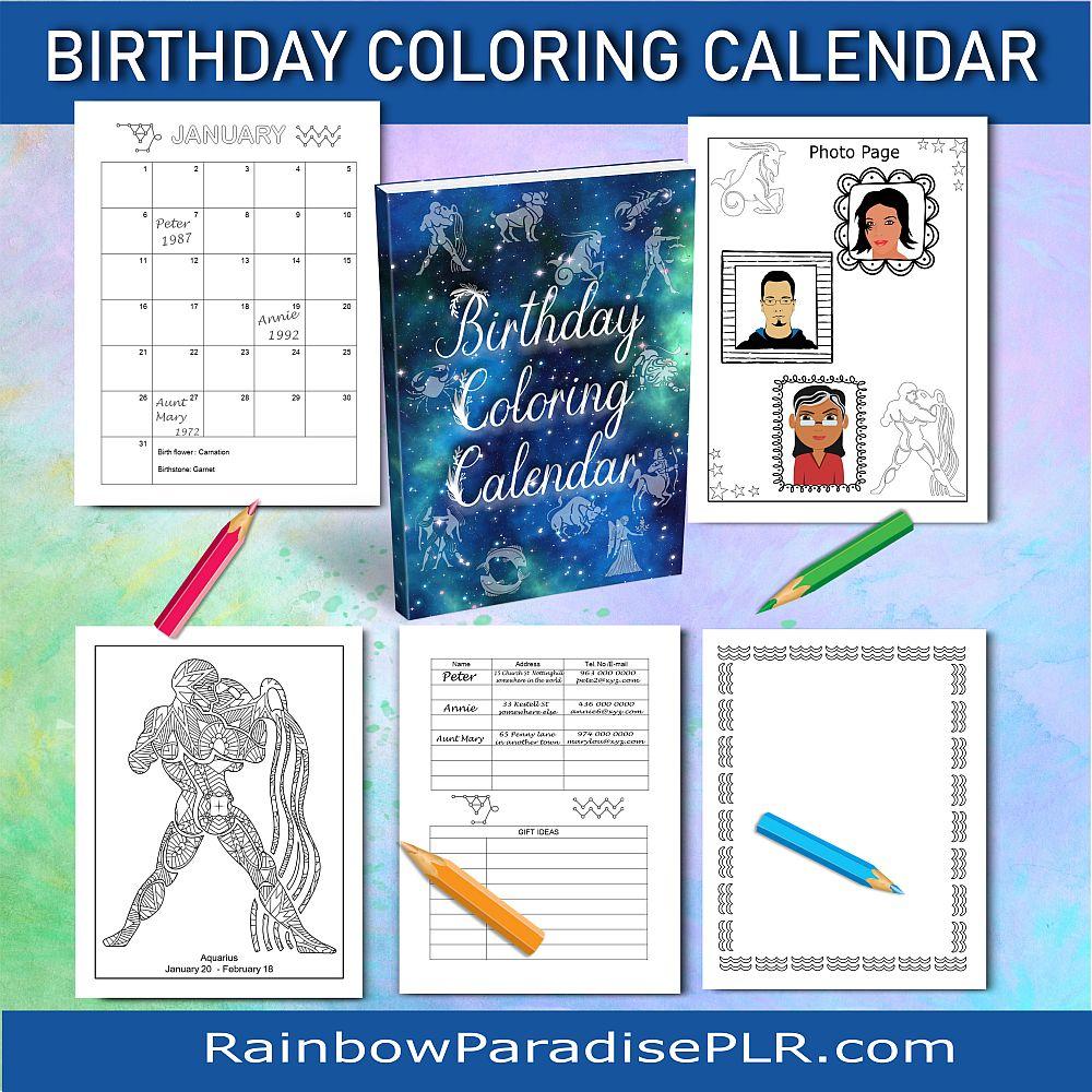 Birthday Coloring Calendar