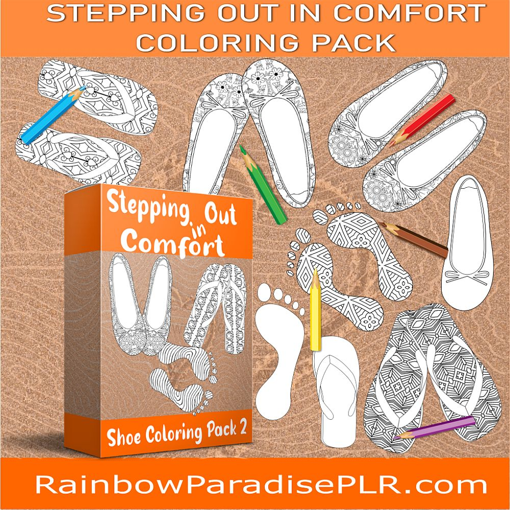 Stepping Out in Comfort Shoe Coloring Pack