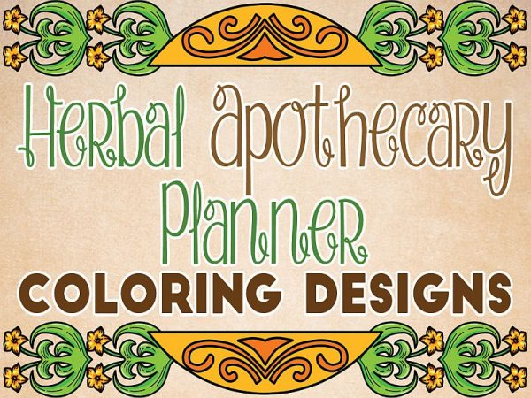 Herbal Apothecary Planner Coloring Designs.