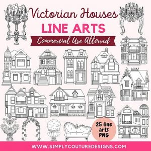 Victorian Houses line art for coloring books